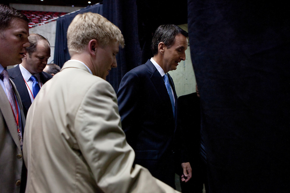 Republican presidential hopeful Tim Pawlenty leaves after doing a television interview following the Republican presidential debate on Thursday, August 11, 2011 in Ames, IA.