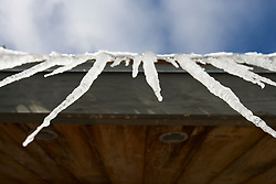 Icicles on a cabin at the AMC's Little Lyford Pond Camps in Maine's Northern Forest.  Near Greenville.