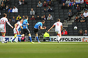 GOAL Bradden Inman shots and scores for Rochdale 0-1 during the EFL Sky Bet League 1 match between Milton Keynes Dons and Rochdale at stadium:mk, Milton Keynes, England on 16 September 2017. Photo by Daniel Youngs.