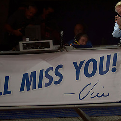 "Vin Scully acknowledges the crowd as a signs reads I'll Miss You!-Vin"" during the seventh inning stretch of a Major League Baseball game between the Colorado Rockies and the Los Angeles Dodgers on Friday, Sept. 23, 2016 in Los Angeles. (Photo by Keith Birmingham, Pasadena Star-News/SCNG)"