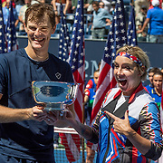 2019 US Open Tennis Tournament- Day Thirteen.    Bethanie Mattek-Sands of the United States and Jamie Murray of Great Britain with the winners trophy after their victory against Hao-Ching Chan of Taiwan and Michael Venus of New Zealand in the Mixed Doubles Final on Arthur Ashe Stadium during the 2019 US Open Tennis Tournament at the USTA Billie Jean King National Tennis Center on September 7th, 2019 in Flushing, Queens, New York City.  (Photo by Tim Clayton/Corbis via Getty Images)