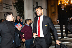 Manchester United players and staff leaving the Courthouse Hotel in Shoreditch before their 4th Round FA Cup tie against Arsenal at the Emirates Stadium. London. 25 January 2019.  . London, January 25 2019.