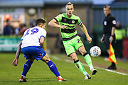 Forest Green Rovers Joseph Mills(23) passes the ball forward during the EFL Sky Bet League 2 second leg Play Off match between Forest Green Rovers and Tranmere Rovers at the New Lawn, Forest Green, United Kingdom on 13 May 2019.