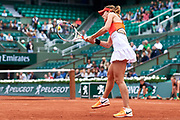 Paris, France - 2017 June 03: Alize Cornet from France  plays a backhand during women's single match third round  during tennis Grand Slam tournament The French Open 2017 (also called Roland Garros) at Stade Roland Garros on June 03, 2017 in Paris, France.<br /> <br /> Mandatory credit:<br /> Photo by &copy; Adam Nurkiewicz<br /> <br /> Adam Nurkiewicz declares that he has no rights to the image of people at the photographs of his authorship.<br /> <br /> Picture also available in RAW (NEF) or TIFF format on special request.<br /> <br /> Any editorial, commercial or promotional use requires written permission from the author of image.