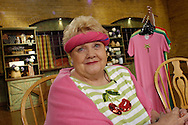 WEST CHESTER, PA - MAY 6: Jeanne Bice sells her colorful clothing on QVC May 6, 2005 in West Chester, Pennsylvania. (Photo by William Thomas Cain/Getty Images for ALL YOU)