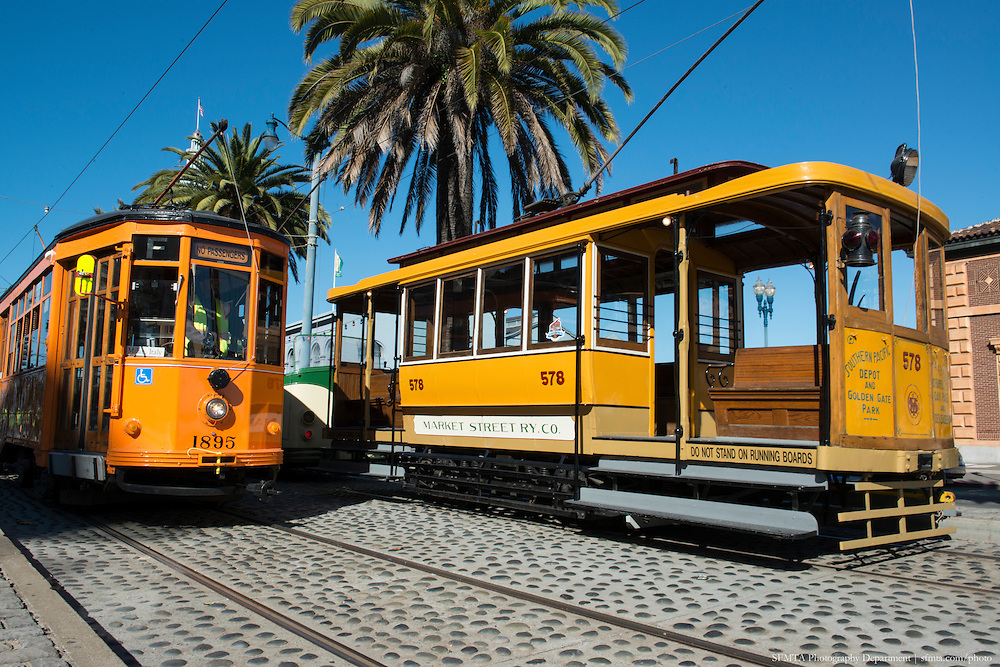 Streetcar 578 on Embarcadero for Muni Heritage Weekend | November 2, 2014
