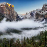 Fog and clouds in Yosemite Valley during winter from Tunnel View, Yosemite National Park, California.