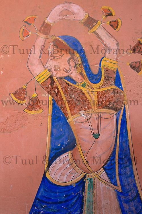 Inde, Rajasthan, Région du Shekawati, Village de Nawalgarh, Peinture à l'interieur d'une Haveli (palais) // India, Rajasthan, Shekawati area, Nawalgarh village, painting inside an Haveli (Palace)