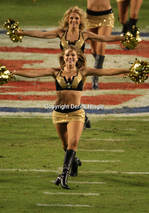 2010 February 07: New Orleans Saints Saintsations cheerleaders perform during a 31-17 win by the New Orleans Saints over the Indianapolis Colts in Super Bowl XLIV at Sun Life Stadium in Miami Gardens, Florida.