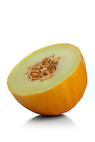 Studio shot of halved melon on white background