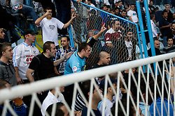 Fans fightin with police during football match between HNK Rijeka and HNK Hajduk Split in 11th Round of Prva Hrvaska Nogometna Liga MaxTV 2013/14 on September 28, 2013 in Stadion Kantrida, Rijeka, Croatia. (Photo By Urban Urbanc / Sportida.com)
