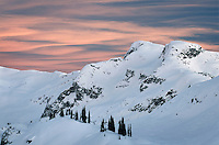 Winter sunset over Coast Mountains British Columbia