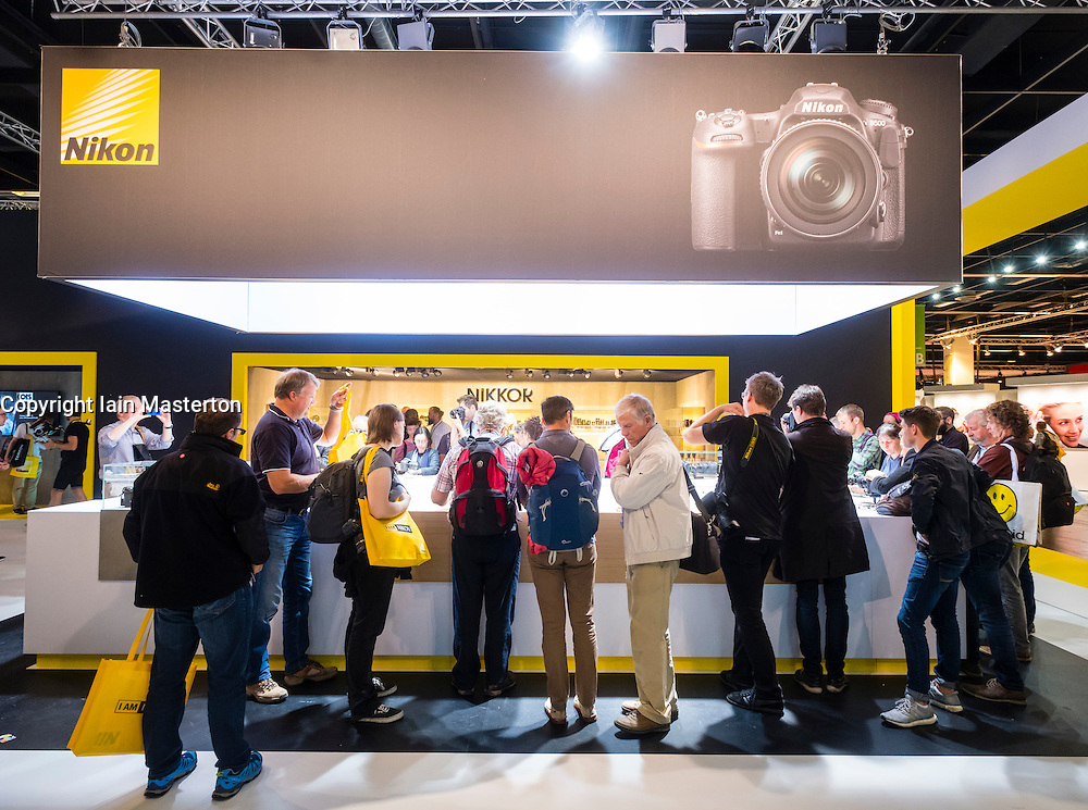 Nikon camera stand at Photokina trade fair in Cologne, Germany , 2016