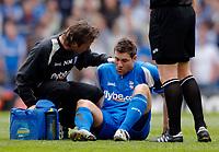 Photo: Glyn Thomas.<br />Aston Villa v Birmingham City. The Barclays Premiership. 16/04/2006.<br /> Birmingham's David Dunn goes off injured.