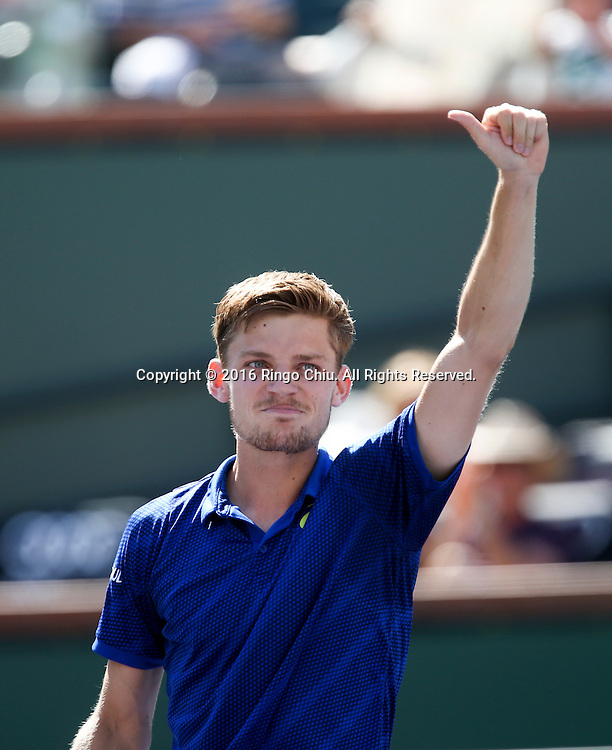 David Goffin of Belgium celebrates after defeating Marin Cilic of Croatia during the men singles quaterfinal of the BNP Paribas Open tennis tournament on Thursday, March 17, 2016 in Indian Wells, California.  Goffin won 7-6, 6-2.(Photo by Ringo Chiu/PHOTOFORMULA.com)<br /> <br /> Usage Notes: This content is intended for editorial use only. For other uses, additional clearances may be required.