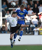Photo: Steve Bond/Richard Lane Photography. Hereford United v Leicester City. Coca Cola League One. 11/04/2009. Joe Mattock (R) and Marc Pugh (L) in the air