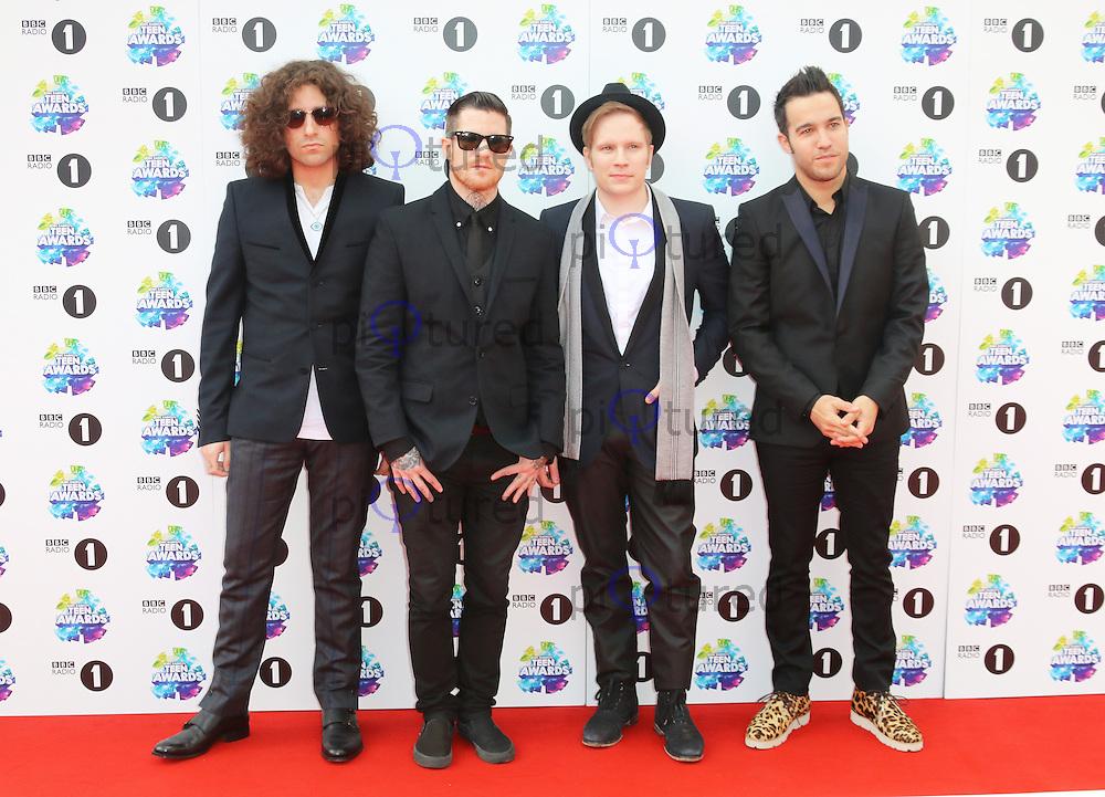 Joe Trohman; Andy Hurley; Patrick Stump; Pete Wentz; Fall Out Boy, BBC Radio 1 Teen Awards, Wembley Arena, London UK, 03 November 2013, Photo by Richard Goldschmidt