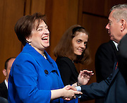 June 28, 2010 - Washington, District of Columbia, U.S., -  Solicitor General Elena Kagan greets Senators as she appears before the Senate Judiciary Committee for hearings on her nomination to be an associate justice of the Supreme Court.(Credit Image: © Pete Marovich/ZUMA Press)