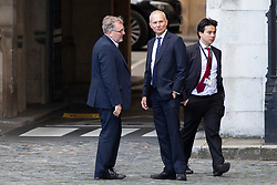 © Licensed to London News Pictures. 05/09/2019. London, UK. MP for Dumfriesshire, Clydesdale and Tweeddale Davuid Mundell (l) talks with MP for Aylesbury David Lidington (c) in Parliament .Later Today Prime Minister Boris Johnson will travel to Yorkshire to make a speech.  Photo credit: George Cracknell Wright/LNP