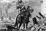 Franco-Prussian War 1870-1871:  Occupation of Paris by German forces - an Uhlan at the Arc de Triomphe. Wood engraving, 11 March 1871