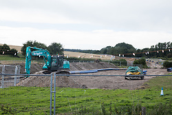 Chalfont St Giles, UK. 18th July, 2020. A new Affinity Water pipeline is constructed between Chalfont St Giles and Amersham in conjunction with the HS2 high-speed rail link. The pipeline is being constructed to protect against the creation of turbidity, or cloudy water, in the water supply due to tunnelling and piledriving activities on the HS2 project.