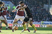 Manchester City striker Sergio Aguero battles for the ball during the Premier League match between Burnley and Manchester City at Turf Moor, Burnley, England on 26 November 2016. Photo by Pete Burns.