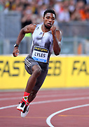 Noah Lyles (USA) places second in the 200m in 19.72 during the 39th Golden Gala Pietro Menena in an IAAF Diamond League meet at Stadio Olimpico in Rome on Thursday, June 6, 2019. (Jiro Mochizuki/Image of Sport)