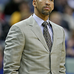 January 29, 2012; New Orleans, LA, USA; New Orleans Hornets head coach Monty Williams against the Atlanta Hawks during a game at the New Orleans Arena. The Hawks defeated the Hornets 94-72.  Mandatory Credit: Derick E. Hingle-US PRESSWIRE