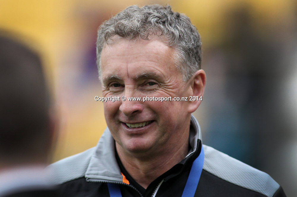 Phoenix coach Ernie Merrick prior to kick off during the A-League football match between the Wellington Phoenix & Western Sydney Wanderers at Westpac Stadium, Wellington, 28 December 2014. Photo.: Grant Down / www.photosport.co.nz