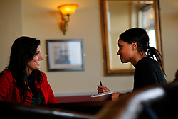 UK ENGLAND MORECAMBE 10FEB10 - Miss England, Katrina Hodge (22) is interviewed by SPIEGEL-Reporter Dialika Krahe at the Clarendon Hotel in Morecambe, Lancashire. Katrina Hodge is on a week-long tour to promote the beauty pageant and careers at the armed forces in northern England...jre/Photo by Jiri Rezac..© Jiri Rezac 2010