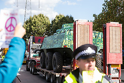 London, UK. 4 September, 2019. Anti-nuclear activists protest as military equipment is delivered to ExCel London on the third day of a week-long carnival of resistance against DSEI, the world's largest arms fair. The third day's protests were organised by the Campaign for Nuclear Disarmament (CND) and Trident Ploughshares.