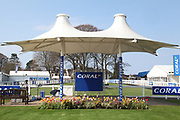 A view of the Winners Podium and Parade Ring prior to the Scottish Grand National, Ladies day at Ayr Racecourse, Ayr, Scotland on 12 April 2019.