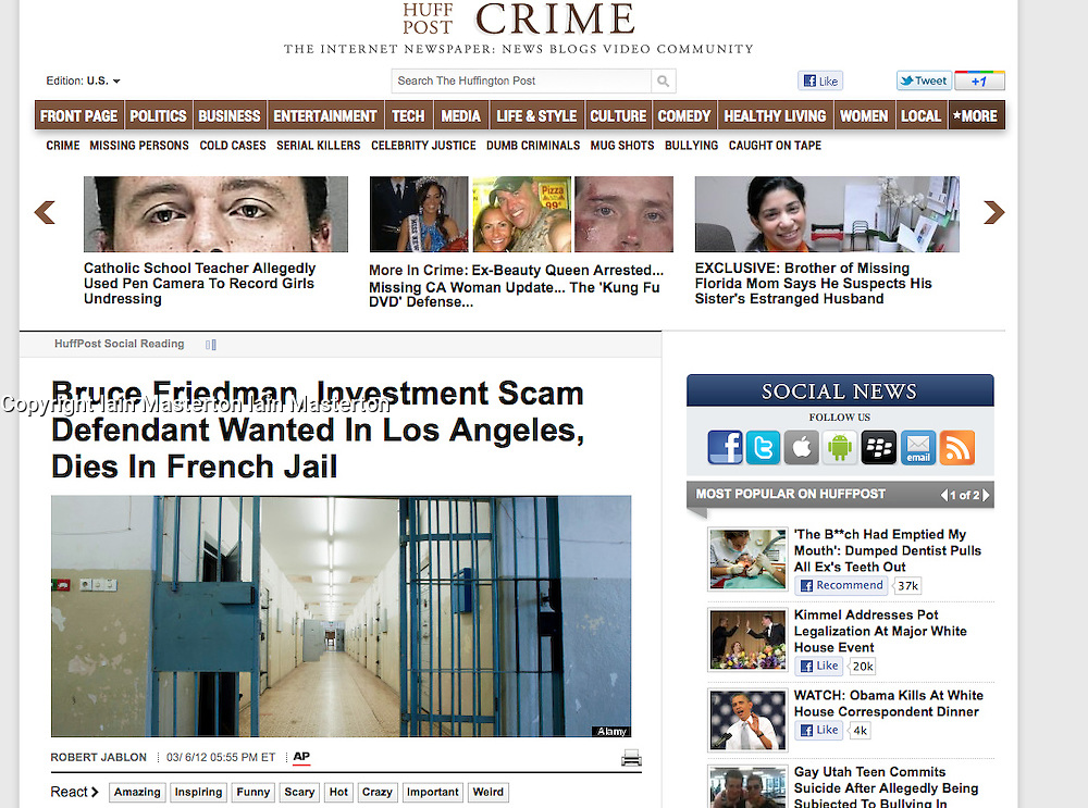 Tearsheet from The Huffington Post...interior of prison