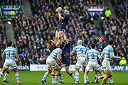 James Ritchie takes lineout ball during the Autumn Test match between Scotland and Argentina at Murrayfield, Edinburgh, Scotland on 24 November 2018.