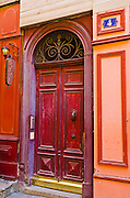 Red door in old town Vieux Lyon, France (UNESCO World Heritage Site)
