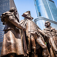 George Washington, Robert Morris, Hyam Salomon Memorial monument statue along Wacker Drive in downtown Chicago.