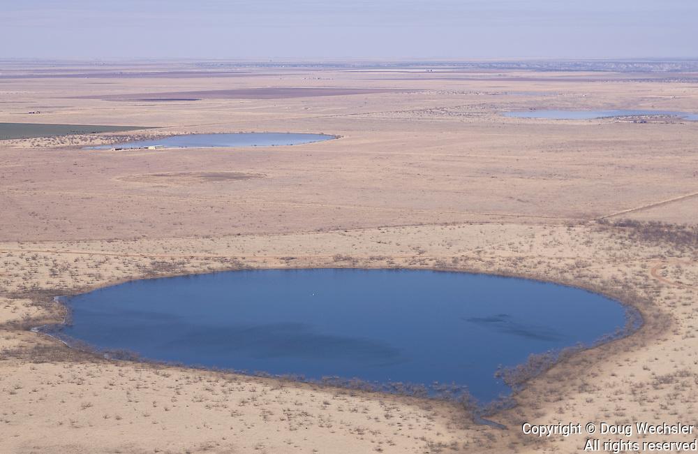Playas aerial view; Texas, high plains