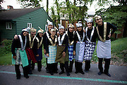 """Memebers of the Ohio University PERMIAS student organization pose for a picture after earlier performing a traditional Indonesian Saman Dance at the ?Integrating Islam in the Social Studies Curriculum,"""" Sponsored by The National Resource Centers for African and Southeast Asian Studies and the Ohio Valley International Council."""