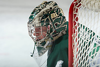 KELOWNA, CANADA - SEPTEMBER 29: Carter Hart #70 of the Everett Silvertips warms up in net against the Kelowna Rockets on September 29, 2017 at Prospera Place in Kelowna, British Columbia, Canada.  (Photo by Marissa Baecker/Shoot the Breeze)  *** Local Caption ***