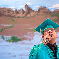 062813       Cable Hoover<br /> <br /> New Life Learning Center graduate Chavez Woody delivers his valedictorian speech during the class of 2013 graduation ceremony at the Fort Defiance chapter house Friday.