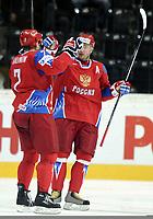 Jubel beim Torschuetzen Dimitri Kalinin und Ilya Kovalchuk (RUS) © Melanie Duchene/EQ Images