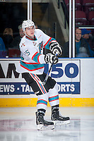 KELOWNA, CANADA - DECEMBER 28: Cal Foote #25 of Kelowna Rockets passes the puck against the Kamloops Blazers on December 28, 2015 at Prospera Place in Kelowna, British Columbia, Canada.  (Photo by Marissa Baecker/Shoot the Breeze)  *** Local Caption *** Cal Foote;