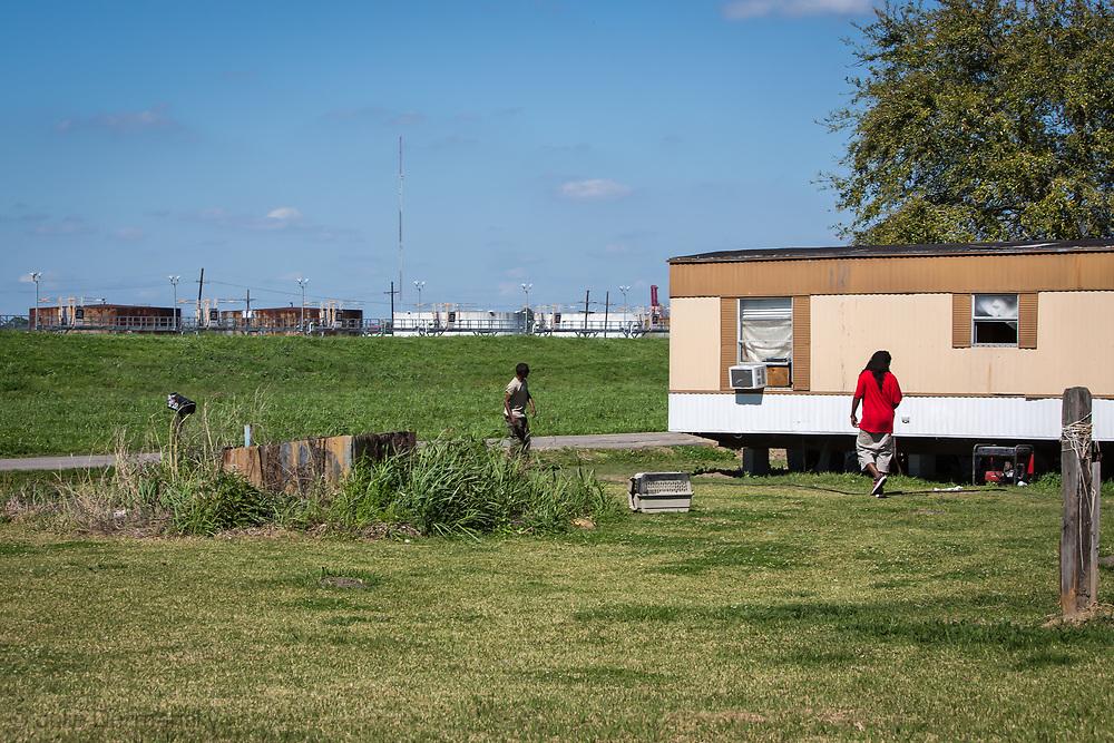 Mobile home in St. James Parish near oil tanks. Energy Transfer Partner's  Bayou Bridge Pipeline will end in St. James if built.