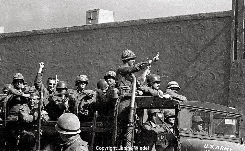 US National guard showing sympathy with the students who they were sent by Governor Reagan to contain. People's Park Student protest & riots in Berkeley California 1969