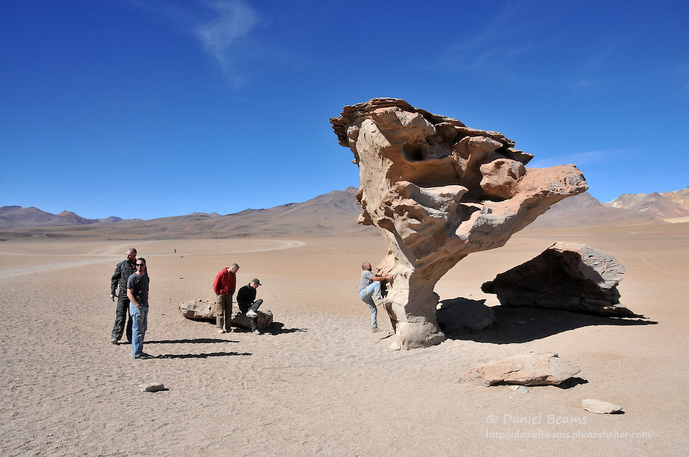 Balancing rock on the altiplano in southern Bolivia