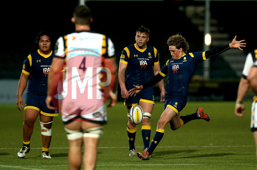 Tiff Eden of Worcester Cavaliers kicks the ball forward - Mandatory by-line: Robbie Stephenson/JMP - 03/04/2017 - RUGBY - Sixways Stadium - Worcester, England - Worcester Cavaliers v Wasps A - Aviva A League