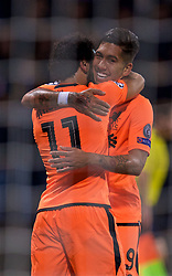 MARIBOR, SLOVENIA - Tuesday, October 17, 2017: Liverpool's Mohamed Salah celebrates scoring the third goal with team-mate Roberto Firmino during the UEFA Champions League Group E match between NK Maribor and Liverpool at the Stadion Ljudski vrt. (Pic by David Rawcliffe/Propaganda)