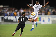 San Jose Earthquakes midfielder Valeri Kazaishvili (11) and Philadelphia Union midfielder Derrick Jones (8) battle for a loose ball during an MLS soccer match won by Philadelphia 2-1, Wednesday, Sept. 25, 2019, in San Jose, Calif. (Peter Klein/Image of Sport)