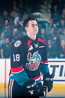 KELOWNA, CANADA - SEPTEMBER 24: Tate Coughlin #18 of the Kelowna Rockets enters the ice against the Kamloops Blazers on September 24, 2016 at Prospera Place in Kelowna, British Columbia, Canada.  (Photo by Marissa Baecker/Shoot the Breeze)  *** Local Caption *** Tate Coughlin;