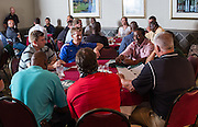 Students in the Master of Athletics Administration program vistied with one another an faculty during the opening reception in the Ohio University Inn on Thursday, June 25, 2015. © Ohio University / Photo by Rob Hardin